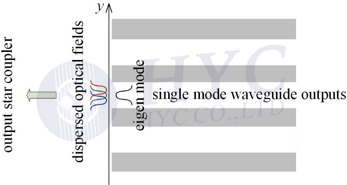 Fig.4 Dispersed optical fields focused at the endface of one output